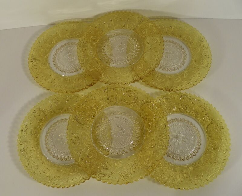 Duncan Miller SANDWICH GLASS Chartreuse Yellow Flash Small Plate (s) LOT OF 6