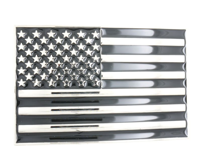 USA U.S. American Flag Patriotic Black/Silver Metal Belt Buckle