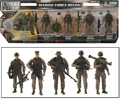 5 Marine Action Figures 1:18 Scale Toy Soldiers Elite Force with Weapons 5