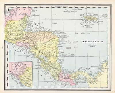 1883 Cram's Map of Central America (Front) and Mexico and Cuba