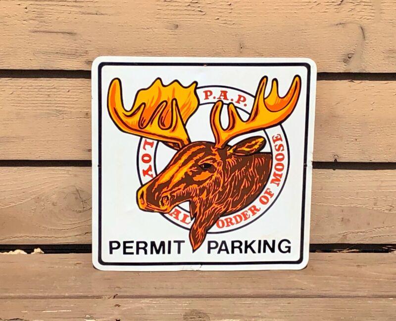 "Vintage Loyal Order Of Moose Lodge Permit Parking 15"" x 15"" Aluminum Sign"