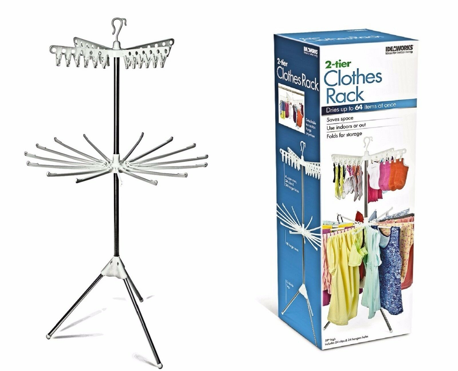 Two Tier Clothing and Drying Rack - Tall Slim Design for Lon