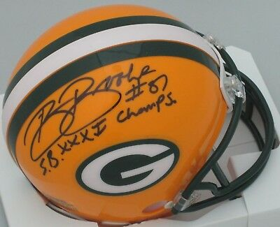 (Packers ROBERT BROOKS Signed Riddell Mini Helmet AUTO w/ SB XXXI Champs)