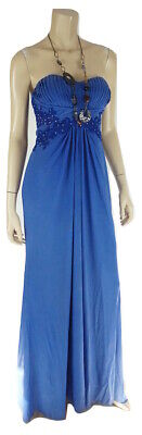 - Junior JUMP APPAREL Blue Illusion Embellished Lace Ruched Strapless Gown NWT 7/8