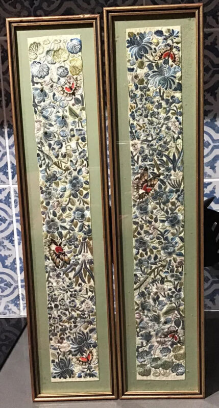 Early 20th Century Pair Chinese Silk Work Panels
