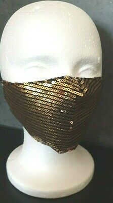 Mundschutz Maske festlich Pailletten Gala Hochzeit Fest Glitzer gold