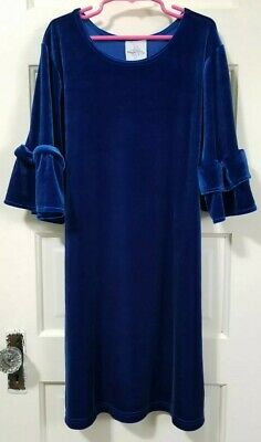 Girls Maggie Breen VELVET Velour GOTHIC Dress 12 L Large ROYAL BLUE Flare Sleeve