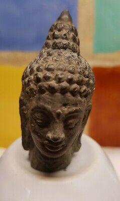 Antique  Cambodian Bronze Miniature Brass Buddha Head.Mountable.