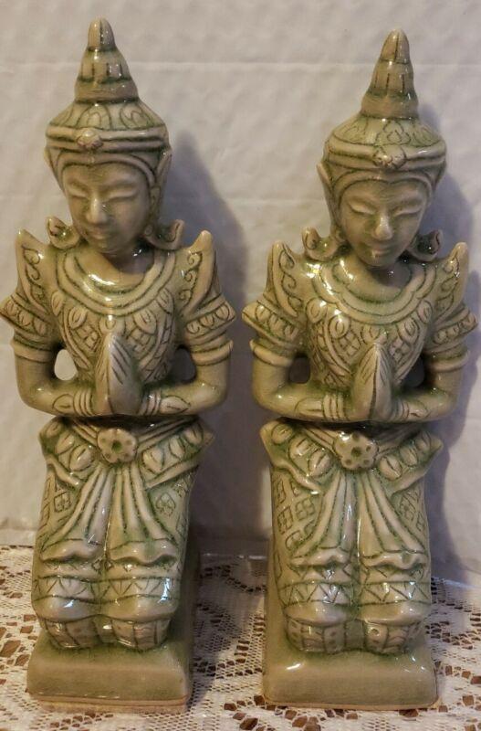 lot of 2 rare crackle green thai celadon figurines