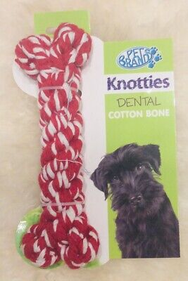 Pet brands Knotties Dental Cotton Bone Extra Large Dog Toy Red New Carded