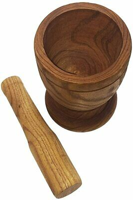 """Fine Wood Mortar and Pestle Imusa Brand 4.8"""" HIGH Grind Spices, Nuts"""