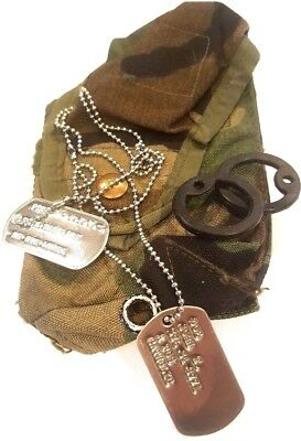 SHINY MILITARY PERSONALIZED DOG TAGS & CHAIN & SILENCERS OFFICIAL GI ARMY / (Official Military Dog Tags)
