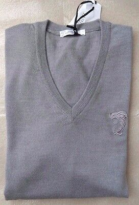 Versace Collection Medusa Head men's grey v-neck jumper size XL*