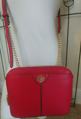 ANNE KLEIN CROSSBODY PURSE ORGANIZER On The Go Chains  Red Gold BRAND NEW