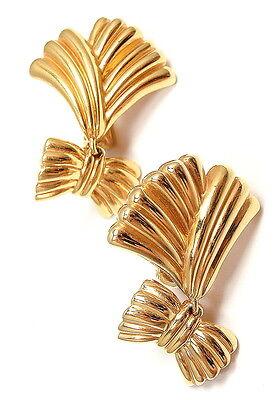 AUTHENTIC VAN CLEEF & ARPELS VCA 18K YELLOW GOLD DANGLE BOW MOTIF EARRINGS