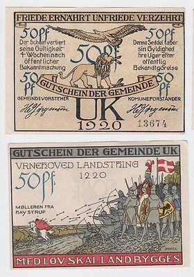 50 Pfennig Banknote Notgeld Gemeinde UK Dänemark 1920 (121648)