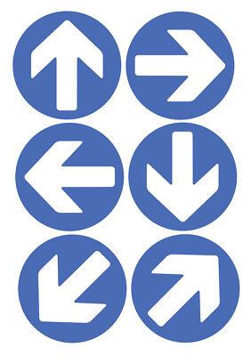 6 X Richtung Pfeile Blau Selbstklebende Sticker Sicherheit Zeichen ()
