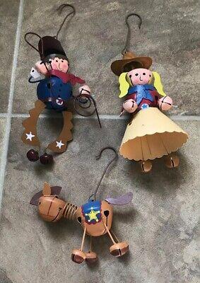 Lot of 3 Metal Jingle Bell Christmas Ornaments Cowgirl Cowboy Horse Metal Hooks ()