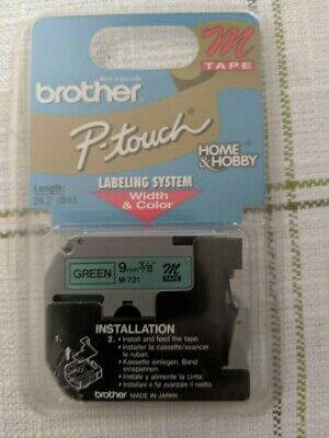 Brother P-touch M721 Tape Cartridge - Green - 9mm 38 - For Use W Pt-100 Pt110
