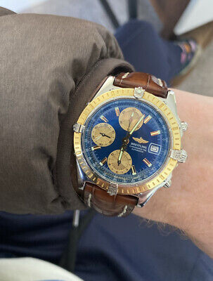 Breitling Chronomat D13352 18k Gold Automatic Mens Watch Croc Strap With Papers