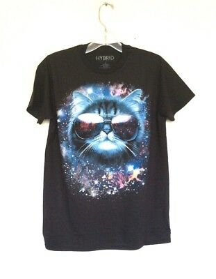 Hybrid Space Galaxy Cat With Glasses Black T SHIRT (Cat Space Glasses)