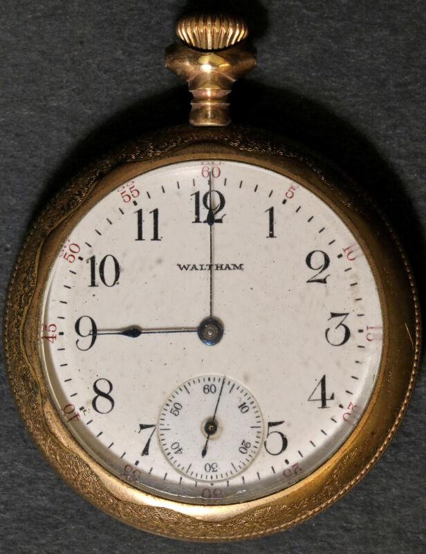 American Waltham Traveler Pocket Watch 16 Size 7 J. Gold-Filled Open-Face