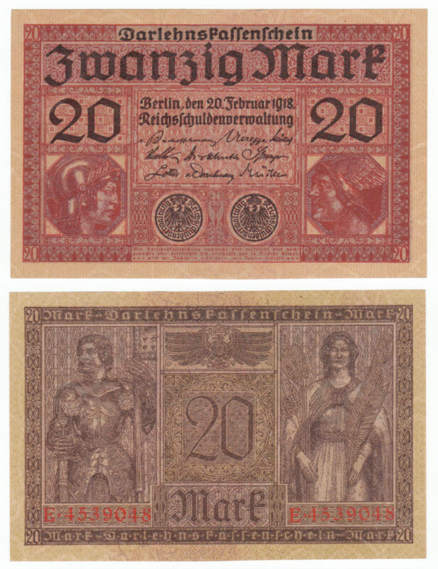 GERMANY 20 Mark 1918 P-57 AUNC Almost Uncirculated