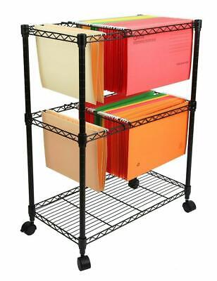 Heavy Duty Two-tier Rolling File Cart 23.6 X 12.6 X 27.6 Storage Organizer