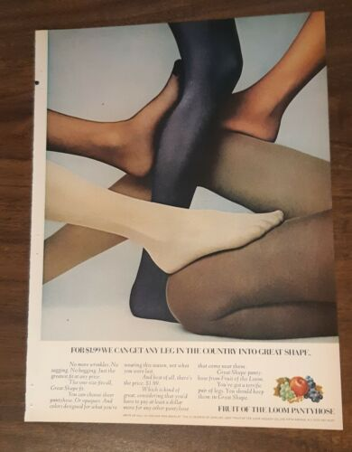 1970 1 PAGE ADVERTISEMENT Fruit Of The Loom Pantyhose AD