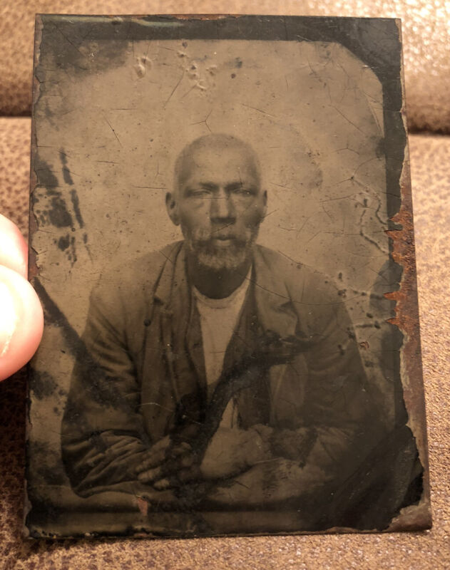 Rare 1850-1860s Tintype Photo of Black, African American Man from Mississippi