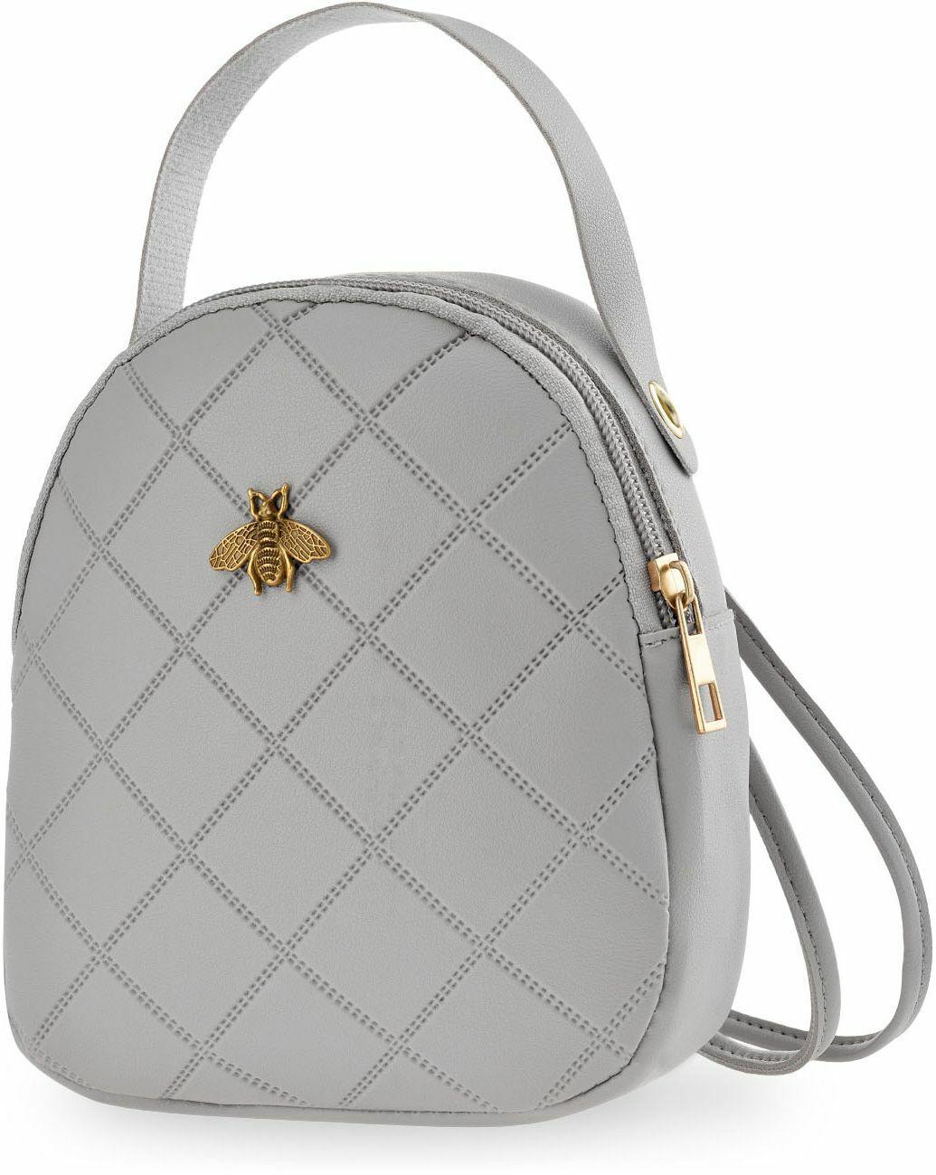 kleiner Rucksack gesteppte Damentasche Rucksackhandtasche grau