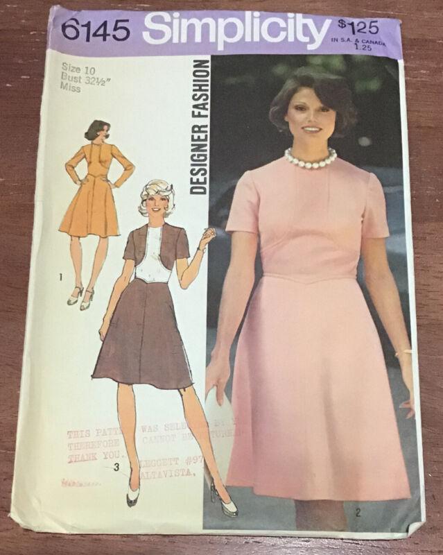 Vintage 1973 Simplicity Pattern 6145 Designer Fashion Misses Dress Size 10/32.5