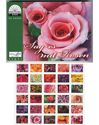 Geschenk  Postkartenbuch Sag es mit Rosen, 30 Postkarten Rosen, mit Text — NEU!