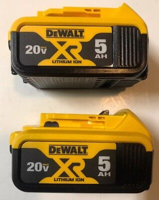(2) NEW DeWALT DCB205 20V Volt MAX XR 5.0Ah Li-Ion Battery Packs w/ Fuel Gauge