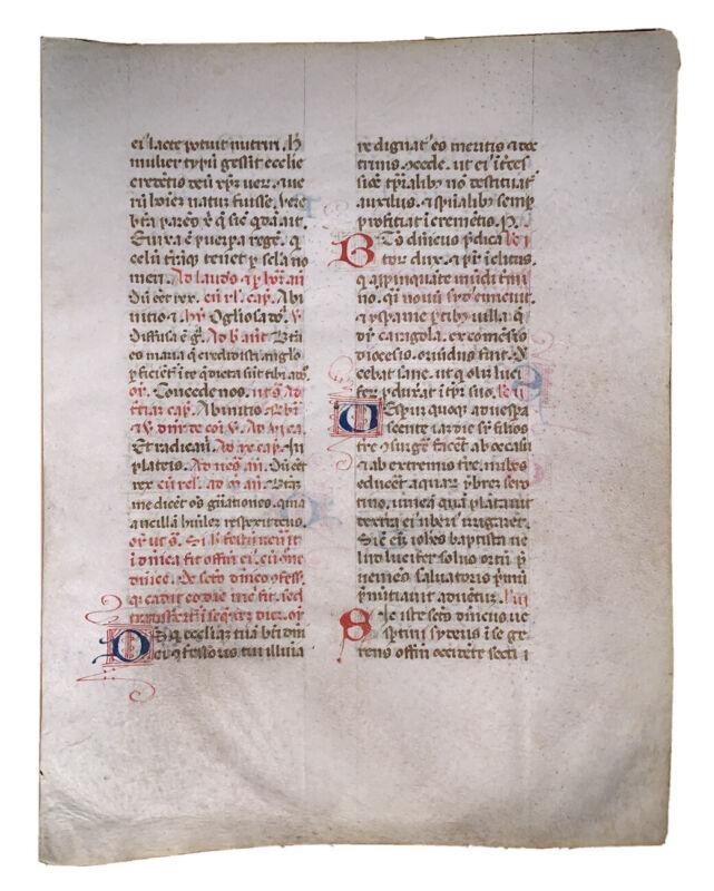 MEDIEVAL ILLUMINATED MANUSCRIPT LEAF ON VELLUM, 15th CENTURY, c.1400-1499