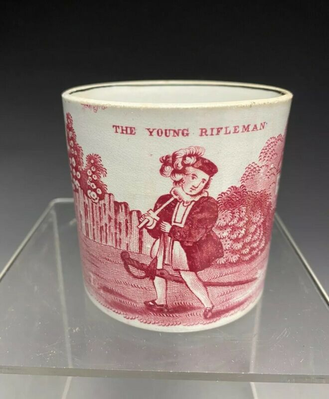 Early 19c. Pearlware Staffordshire Teansferware Child Cup Mug The Young Rifleman