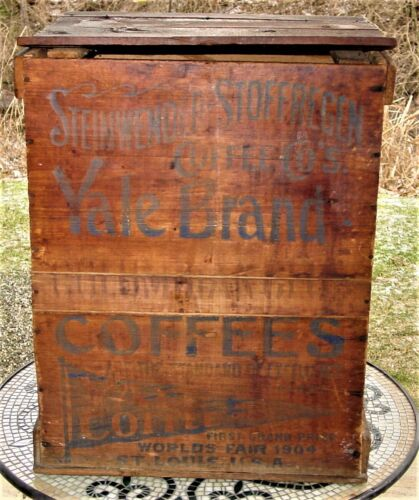 "ANTIQUE ORIGINAL YALE COFFEE WOODEN COUNTRY STORE ADVERTISEMENT BIN 21"" RARE"