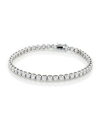 14k White Gold Over Sterling Silver Round Diamond Tennis Box Clasp Bracelet