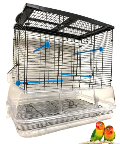LARGE No Mess Acrylic Bird Flight Cage For Canary Cockatiels LoveBirds Aviaries