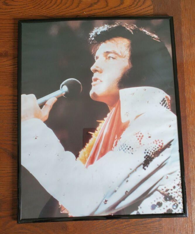 """Framed Elvis Presley Concert Singing Poster Picture Approximately 20x16"""""""