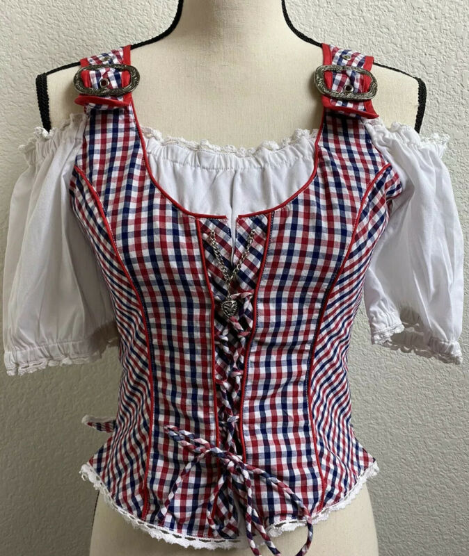 Lekra Country Life Womens German Traditional Dirndl Trachten Blouse Top - Sz 8/M