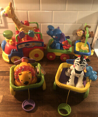 Fisher Price Amazing Animals Sing & Go Choo Train COMPLETE w/LION & ZEBRA CARS!!