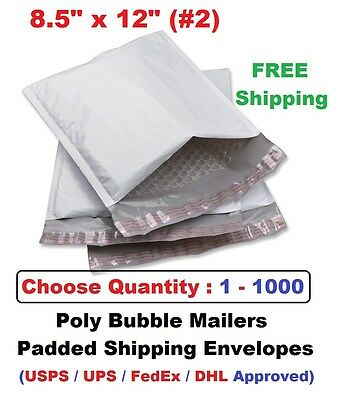 2 8.5x12 Poly Bubble Mailers Padded Shipping Envelopes Bags 1 10 25 50 100 1000