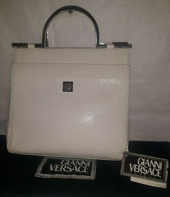 Gianni Versace Vintage Off-white Snakeprint Leather Handbag w Tag & Dust Bag