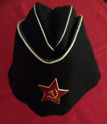 USSR SOVIET UNION VINTAGE RUSSIAN FLEET NAVY OFFICER PILOTKA CAP HAT BERET NAVAL