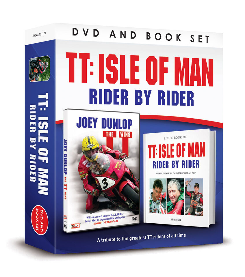 JOEY DUNLOP THE TT WINS DVD & BOOK OF TT ISLE OF MAN RIDER BY RIDER - GIFT BOX