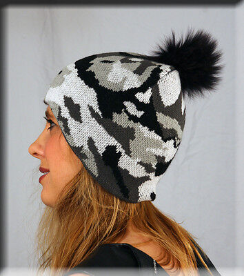 - New Grey Black Army Print Beanie Grey Fox Fur Pom Pom One Size Fits All