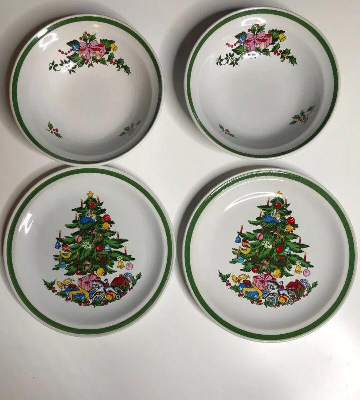 (A6) 2 International China Christmas Tree Salad Plate Bowl Noel SY-6243 Japan #4