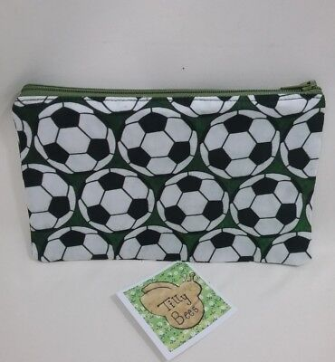Handmade football pouch zip up bag holder fully lined brother son xmas gift idea