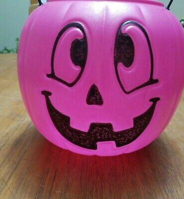 Pink Halloween Jack-o-Lantern Pumpkin Trick-or-Treat Candy Bucket